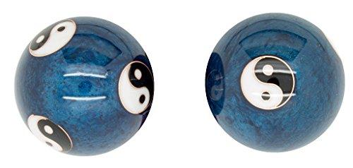 Meditation Qi-Gong-Kugeln mit Klangwerk   Klangkugeln   Yin Yang   Design Ying Yang blau Exklusiv   verschiedene Durchmesser (Ø 40 mm)