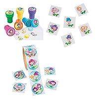 Mermaid Party Favor Bundle: One Bag of 24 Mermaid Stampers, Three Mermaid Sticker Rolls, One Bag of 72 Mermaid Tattoos