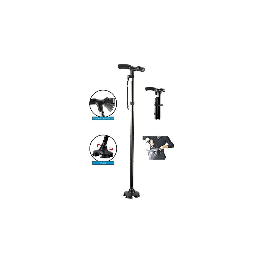BeGrit Folding Cane Walking Stick Adjustable Height Lightweight Collapsible Walking Cane with LED Light Non Slip for Men and Women