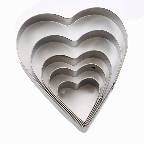 SK Heart Shape Cookie Cutter Set, Stainless Steel, 5-Piece (Heart Cutter Cookie 5)