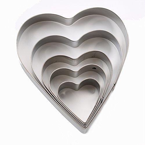 SK Heart Shape Cookie Cutter Set, Stainless Steel, 5-Piece (Cookie Heart 5 Cutter)