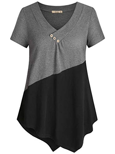 (Cyanstyle Women's Button V Neck Short Sleeve Color Block Shirt Tunic Blouse Top (Grey, X-Large))