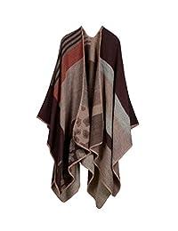 YACUN Women's Winter Reversible Oversized Blanket Poncho Wrap Shawl Scarf Coffee F