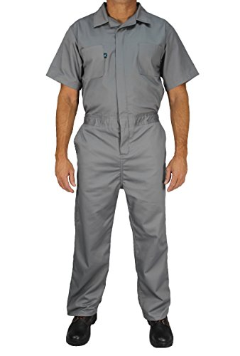 Kolossus Deluxe Short Sleeve 100% Cotton Coverall with Multi Pockets and Antistatic Zipper (Grey, X-Large)