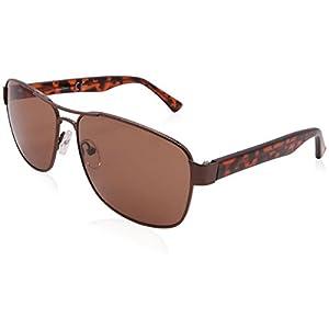 FaceWear Rectangle Aviator Sunglasses Metal Big Frame UV400 Protection for Men 60mm FW1017 C2 brown