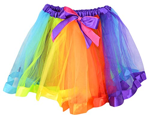 Cute Unicorn Rainbow Neon Tulle Tutu Skirt for Women, Colorful Gay Pride Parade Tutu Dress for Adults ()