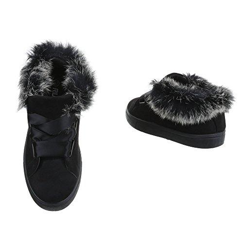 Plano para Zapatillas mujer Negro Mocasines Ital Design Zapatos qBwUS88