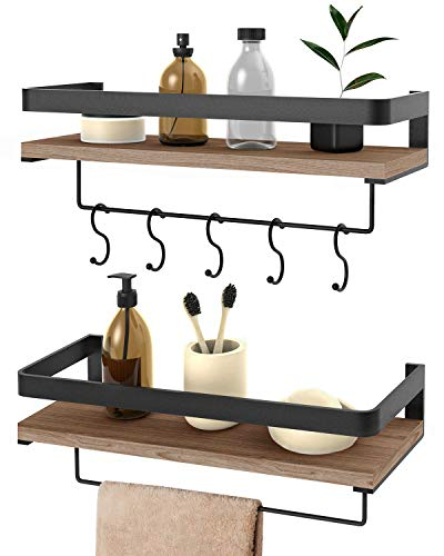 Audoc Floating Shelves Wall Mounted 2 Set, Bathroom Shelf with Rail, Towel Bar and 5 Hooks, Decorative Storage Shelves for Kitchen, Bathroom, Living Room, Bedroom - Rustic Pine Wood(16.5inch)
