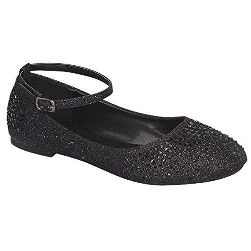 Mode-chaussures Femmes Glitter Brillant Ballerine Ballet Slip On Cheville Sangle Noir