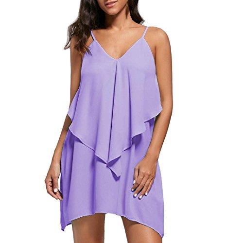 99fbffeb8f6 Overlay Irrégulier Mode Plage D été Robes V Genou Volant Jupe Violet Chic Courte  Femmes cou Casual Soirée Mini Adeshop ...