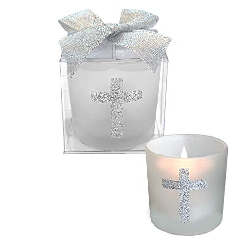 Christening Party Favors - Fashioncraft,Wedding Party Bridal Shower Favors, Candle Favors with Sparkling Silver Cross, Set of 24,White