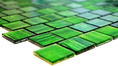 Mosaikfliese Transluzent Glasmosaik Crystal Struktur gr/ün klar gefrostet MOS68-CF43/_f 10 Mosaikmatten