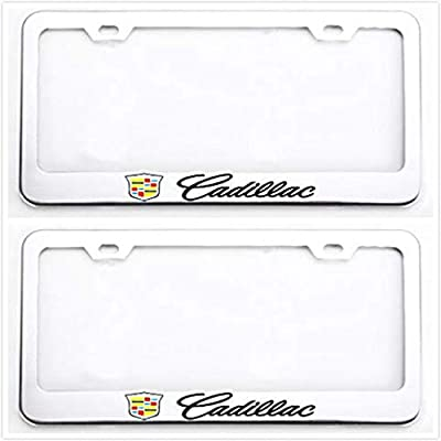 Sparkoo Stailess Steel Metal License Plate Frames Cover Holder Sport for Cadillac (2): Automotive