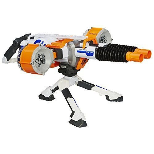 GREAT DOUBLE BARREL NERF MACHINE GUN BLASTER'S 2 DRUMS HOLD 25 ELITE DARTS EACH (Nerf Tripod Gun)