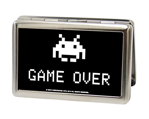space-invaders-alien-game-over-black-white-metal-multi-use-wallet-business-card-holder