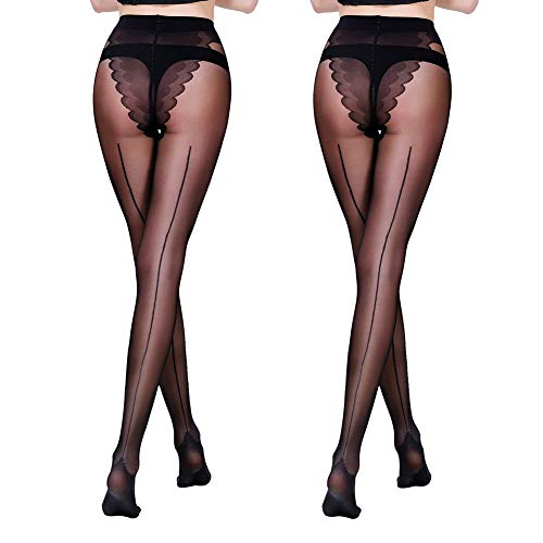 FANCAME Women's Sheer Control Top Tights Back Seam Compression Pantyhose Socks 2 Pack (Small, Black ¡Á 2)