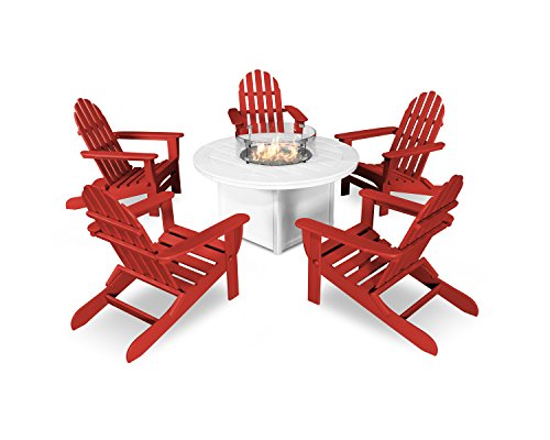 POLYWOOD Classic Folding Adirondack 6-Piece Conversation Set with Fire Pit Table (Sunset ()