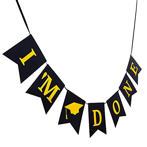 picture relating to Printable Graduation Decorations titled Im Carried out Banner - NO Conference Needed! 2019 Commencement