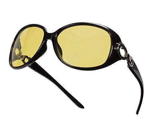 Bestum Headlight Night Vision Driving Glasses Polarized Sunglasses For Womens (Black, Yellow)