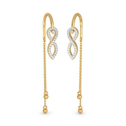 18K Or jaune 0.18CT TW White-diamond (IJ | SI) Pendants d'oreilles
