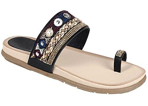 TravelNut Best Fancy Fun Bohemian Jeweled Toe Ring Open Heel Slide Slip-On Slipper Sandal for Women Teen Girl (Black Size 9)
