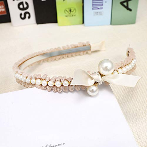 (Maikouhai 7cm Wide Womens Lace Bow Pearl Tie Beading Headband Twist Hairband Bow Knot Cross Tie Headwrap Hair Band Hoop Scrunchies (Beige))