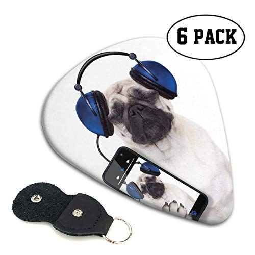 Guitar Picks 6 pcs,Dog Listening Music On The Smartphone Groovy Cool Headphones Animal Funny - Mobile Musical Damask