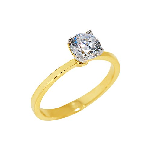 Ladies 10k Yellow Gold 2.2mm Band Four-Prong CZ Solitaire Engagement Ring (Size 8) ()