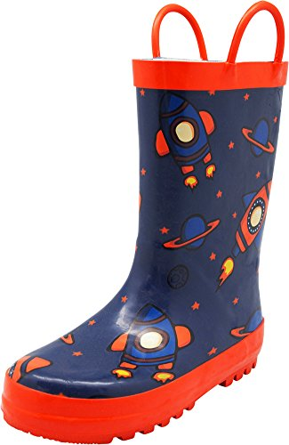 NORTY Boys Rocket Ships Print Waterproof Rainboot, Navy, Orange 40151-2MUSLittleKid (Boot 2 Rocket)