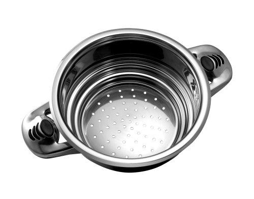 CS KOCHSYSTEME HELMOND 16-Piece Muti-purpose Stainless Steel Cookware Set, includes steamer insert and handy kitchen spoons