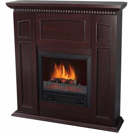 Electric Fireplace with 36″ Mantle and Storage, Chestnut