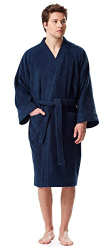 Arus Men's Short Kimono Bathrobe Turkish Cotton Terry Cloth Robe Navy Blue S/M