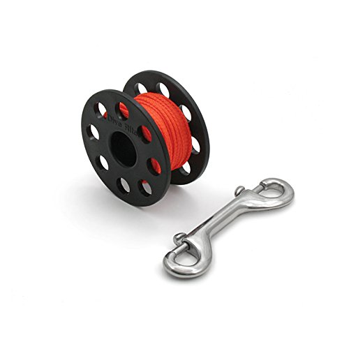Dive Rite Plastic Finger Spool, Small, {50 ft | 15 m} ORANGE line, S/S Snap