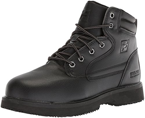 Fila Mens Boots - Fila Men's Landing Steel Slip Resistant Industrial Work Boot Food Service Shoe, Black, 7.5 D US