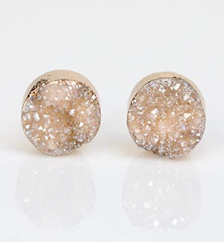 - Natural Beige Druzy Stud Earring Real Genuine Druzy Quartz Gemstone-10mm