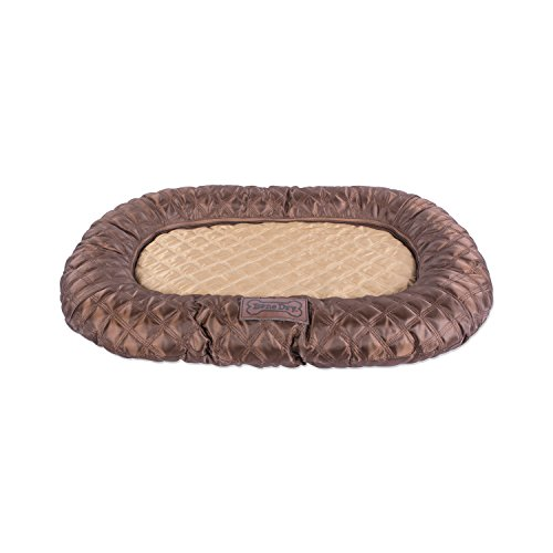 DII Bone Dry Kennel & Crate Padded Pet Mat For Dogs or Cats – Medium Oval Quilted Brown – 20x28
