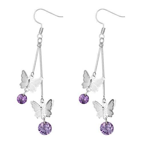 Women Butterfly Earrings with Chain - InsectEarrings Tassel - Monarch Earring for Girls,Butterfly Party,Birthday or Daily Wear (Purple Pendant Butterfly Silver) (Purple Pendant Butterfly)