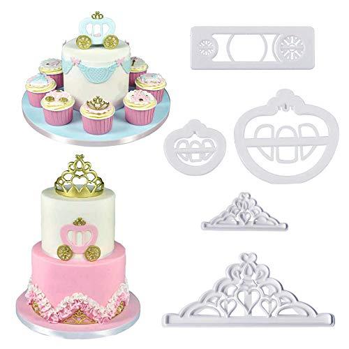 Princess Crown Cookie Cutter Set/Pumpkin Carriage Cart Fondant Molds Cutters CupCake Decorating Gumpaste Sugar Craft Cake DIY Tools