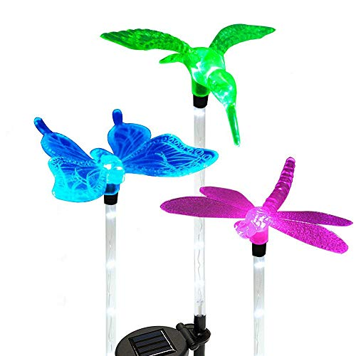 Solar Garden Stake Lights Outdoor, Sooreally Color Changing Solar Powered LED Lights, Decorative Waterproof Night Lights for Patio, Lawn, Backyard 3 Pack (Butterfly, Dragonfly, Hummingbird)