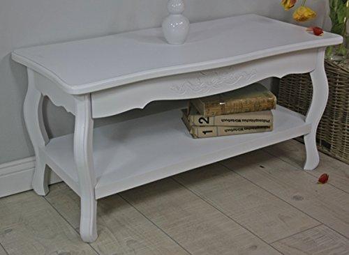 Tavolini Da Salotto In Legno Rustico.Tavolo Tavolino Da Salotto 88 X 44 Cm Bianco Anticato Barocco