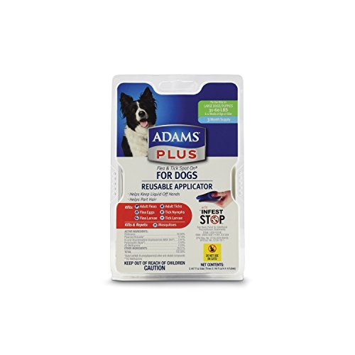Adams Plus Flea and Tick Spot On for Dogs, Large Dogs 31-60 Pounds, 3 Month Supply, With (Adams Flea Treatment)