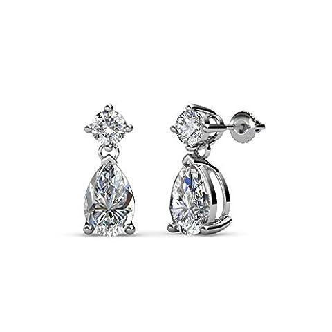 Pear Diamond Dangling Stud Earrings (SI2-I1, G-H) 1.68 ct tw in 14K White Gold - I1 Pear Earrings