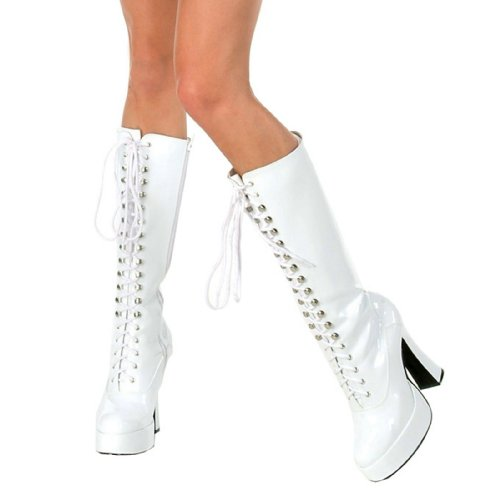 White Halloween Costume Boots (Ellie Shoes E-Easy Lace Up Knee Boots with 5 Inch heel 8 White)
