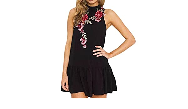 0480c79a327 Amazon.com  NEWONESUN 2018 Fashion Women V-Neck Rose Embroidery Jumpsuit  Summer Loose Playsuit Bodysuit Trousers (Large