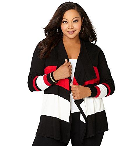 Avenue Women's Colorblock Cascading Cardigan, 14/16 Black Multi