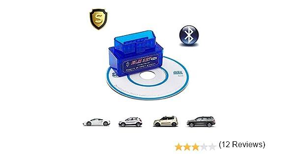 Torque Soporte OBD2 OBD II ELM327 HopeU5/® Supper Mini ELM327 Lector de c/ódigo de coche Bluetooth Compatible con Android Azul