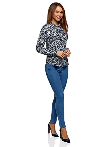 Mujer Viscosa 7510e De Básica Blusa Ultra Azul Oodji 5XwBqpc