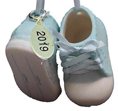 Twisted Anchor Trading Co Baby Boy Shoe Personalized Ornament Babys First Christmas Ornament 2019 Blue Baby Booties - Can Be Personalized - with Gift Box