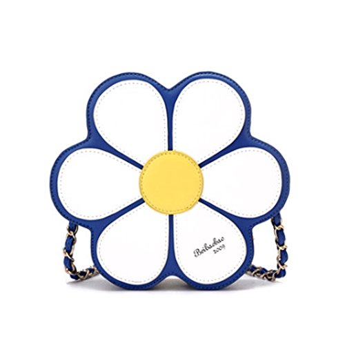 Joyci Royal Blue 3D Raised Floral Coin Purse PU Leather Round Wallet Cross Body Tote