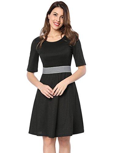 Black Striped Contrast Flare Elastic K L Waist Women's Dress Allegra wZzU4q1xx